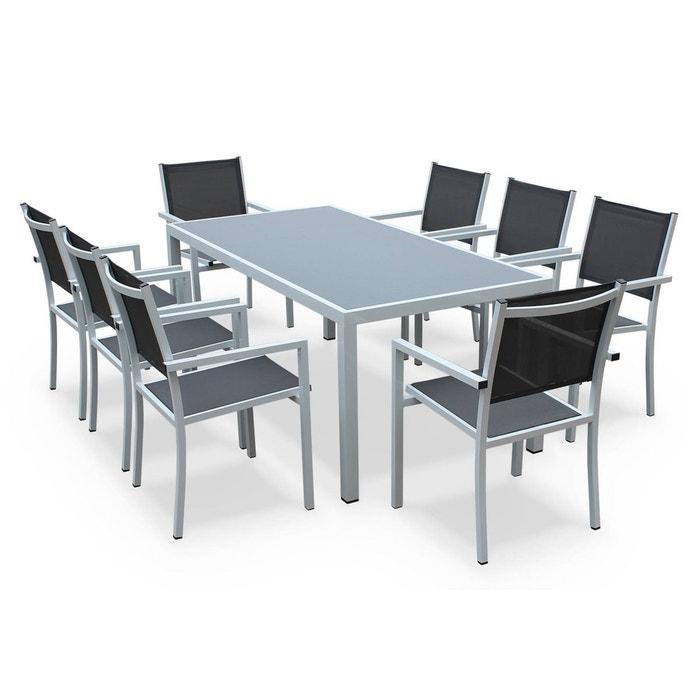 Salon de jardin aluminium table 180cm, 8 fauteuils en textilène