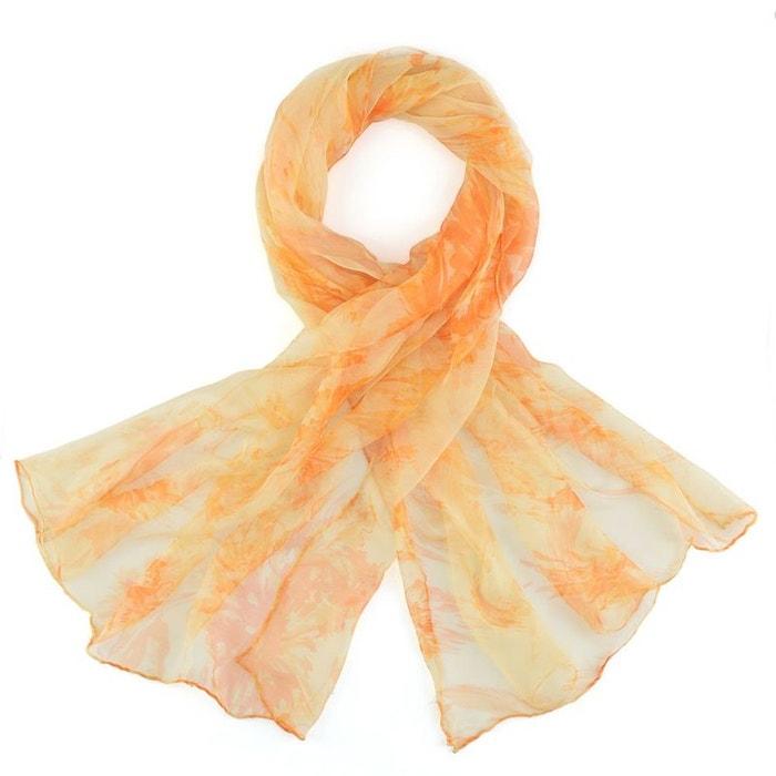 c7ff018af7f6 Foulard mousseline de soie vahina orange Allee Du Foulard   La Redoute