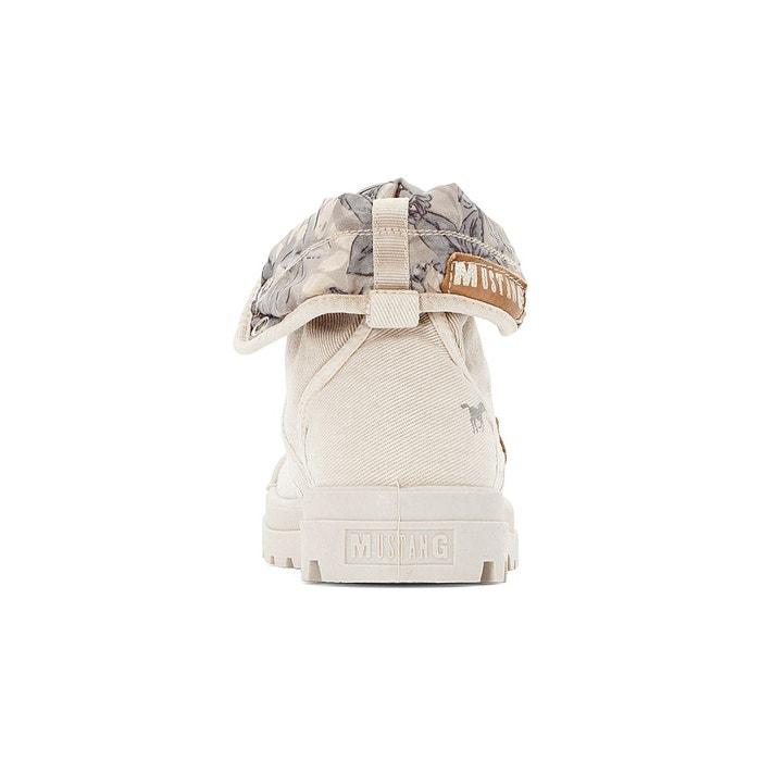 Baskets montantes à lacets toile beige Mustang Shoes