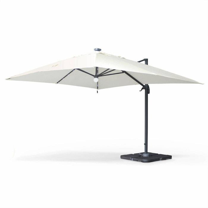 parasol d port solaire led 3x4m luce ecru cr me haut de gamme avec lumi re int gr e cru alice. Black Bedroom Furniture Sets. Home Design Ideas