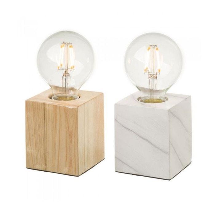 set de 2 lampes bois bois et marbre wadiga la redoute. Black Bedroom Furniture Sets. Home Design Ideas