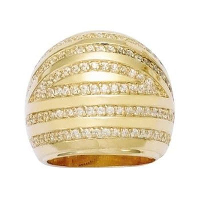 Grande Vente Sortie Acheter Style De Mode Pas Cher Bague anneau dôme oxyde de zirconium plaqué or 750 couleur unique So Chic Bijoux | La Redoute gown6Xq8Y4