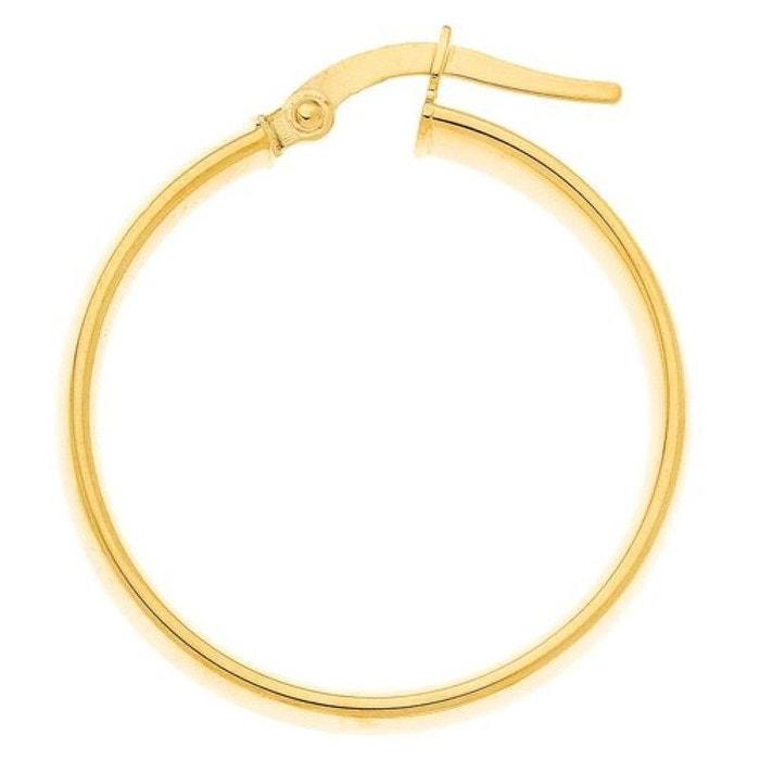 Boucles d'oreilles créoles fil 4 mm diamètre intérieur 20 mm or jaune 375/000 (9 carats) couleur unique So Chic Bijoux   La Redoute