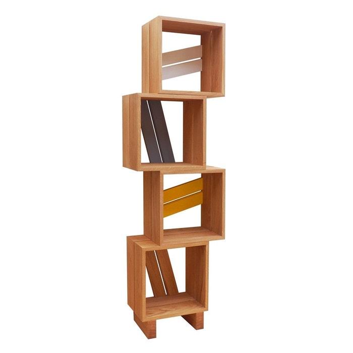 Meuble biblioth que modulable 4 casiers bois jaune gris - La redoute meuble bibliotheque ...