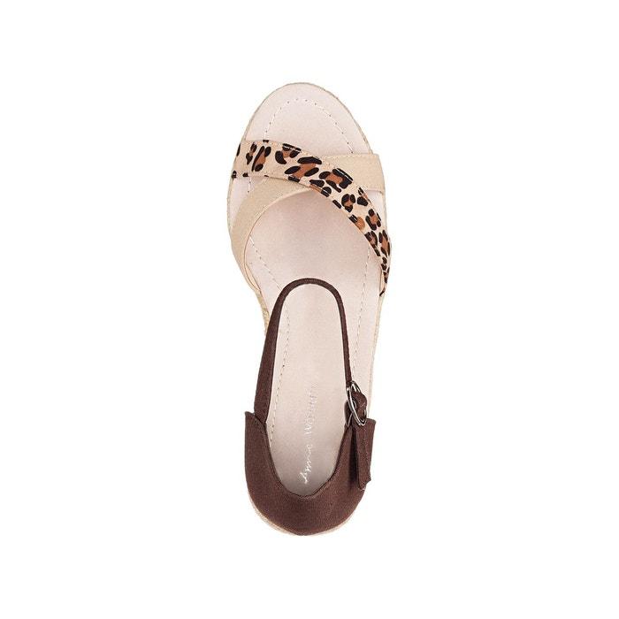 Sandales compensées, talon corde beige Anne Weyburn
