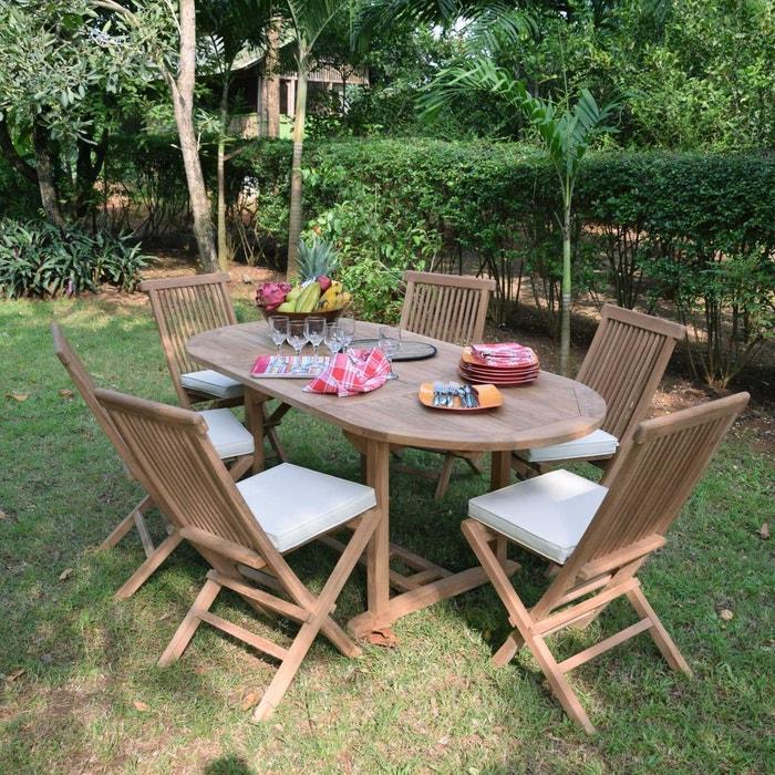 Salon de jardin en teck ecograde manille, table extensible avec 6 ...