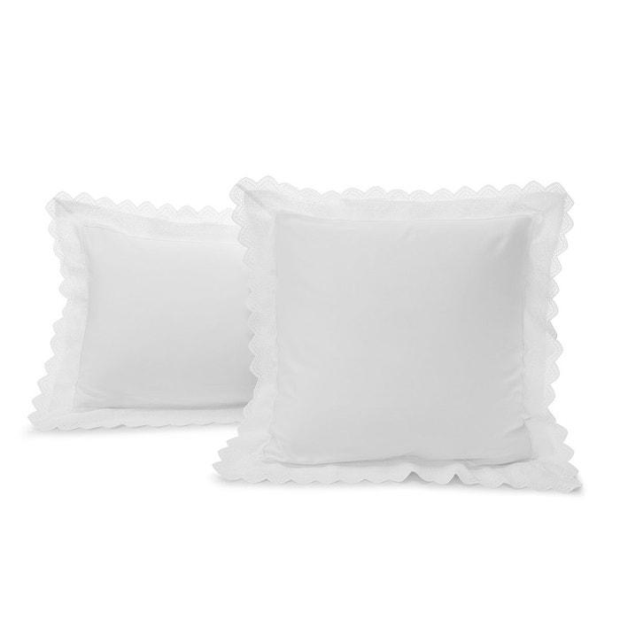 taie d'oreiller tradition satin 120 fils 60x60 200/85 blanc