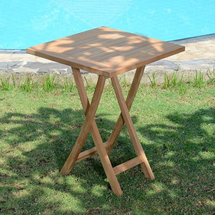 Table de jardin en Teck Pliable 60 x 60 cm - Bistrot