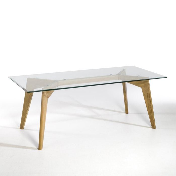 Kristal Glass and Oak Rectangular Table