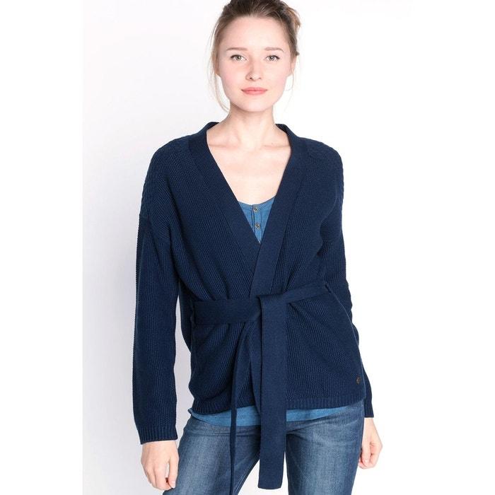 gilet femme maille unie ceinture bleu indigo bonobo la. Black Bedroom Furniture Sets. Home Design Ideas