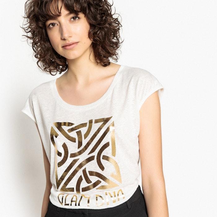 cuello La motivo con Camiseta mangas y amplio sin Redoute Collections delante con xIf1rx