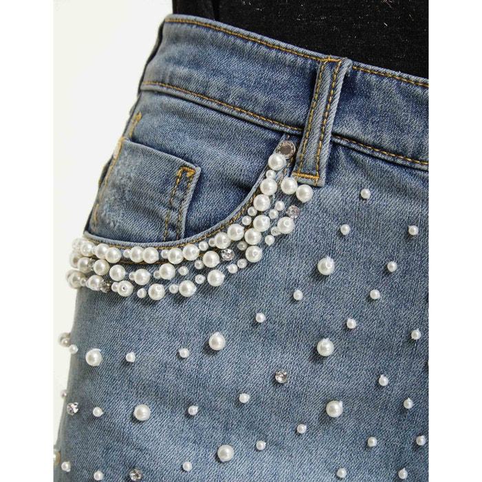 Short con 237;a y MORGAN perlas fantas deshilachado vaquero lavado CdXxqF1