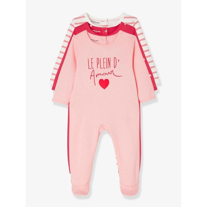 lot de 3 pyjamas b b en coton pressionn dos rouge multicolore vertbaudet la redoute. Black Bedroom Furniture Sets. Home Design Ideas