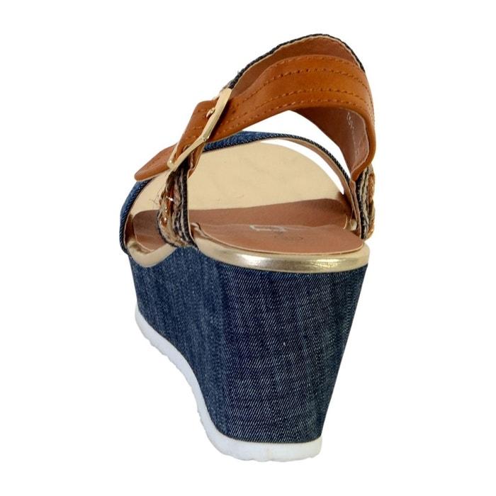 Sandale compensée bleu The Divine Factory