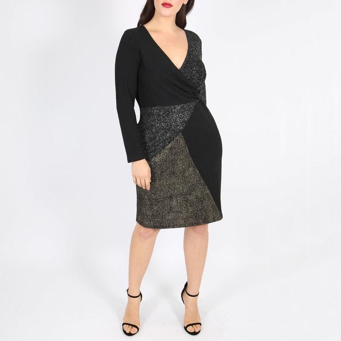 b2f8ffeb4aafeb Gedrapeerde jurk met lange mouwen zwart Lovedrobe