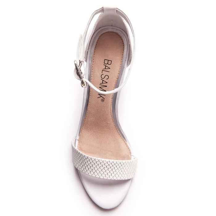 Sandales fantaisie à talon droit blanc rayé Balsamik