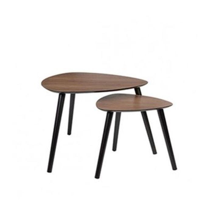 set de 2 tables basses gigognes en noyer marron wadiga la redoute. Black Bedroom Furniture Sets. Home Design Ideas
