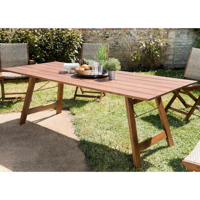 Table de jardin rectangulaire style contemporain en bois d\'acacia 220x90cm  SUMMER 10 personnes