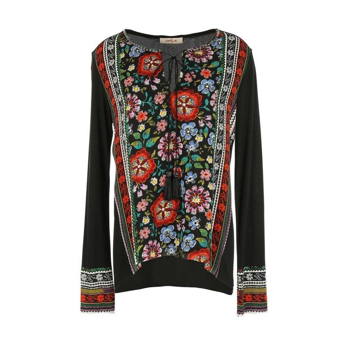 Camiseta larga de con y estampada RENE redondo flores DERHY manga cuello B4wW5a