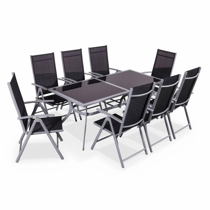 Salon de jardin en aluminium table 8 places gris textil ne - Salon jardin la redoute ...