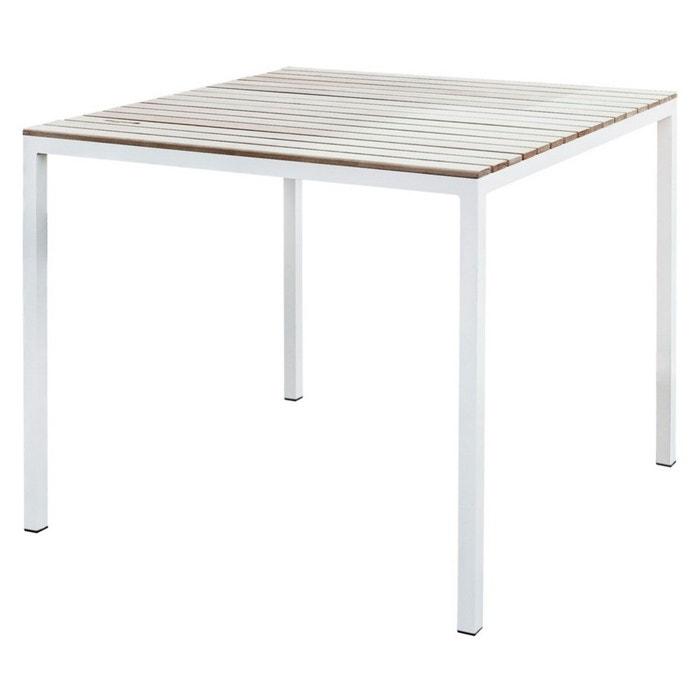 Table de jardin carrée cora en aluminium blanc et acacia naturel ...