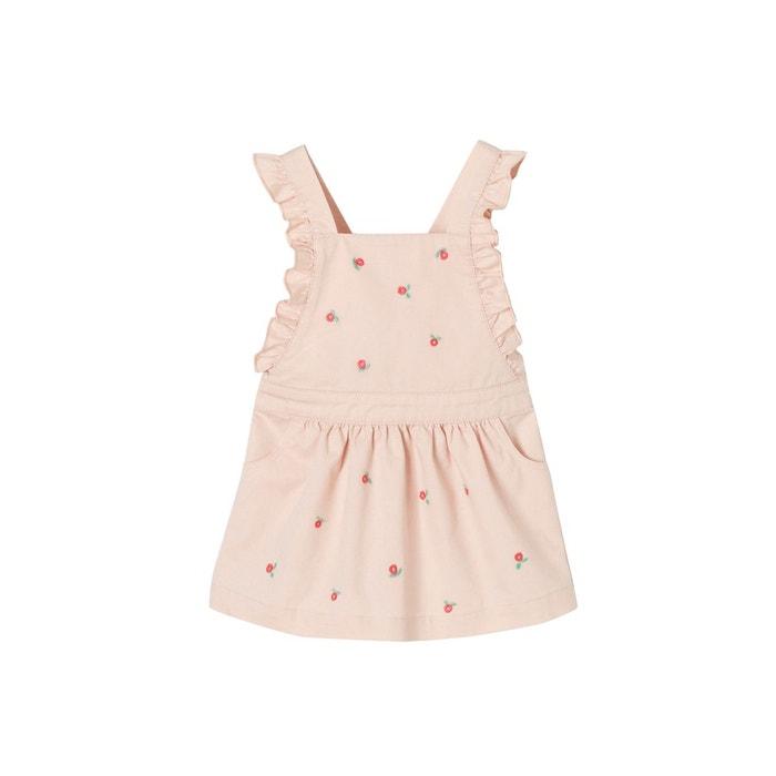 e7d44c95ee448 Robe à bretelles bébé fille avec broderies fleurs rose pâle Vertbaudet