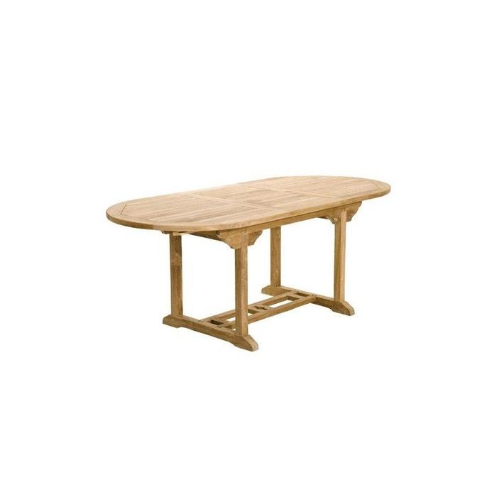 Table de jardin en teck ovale extensible 150/200x90cm summer bois ...