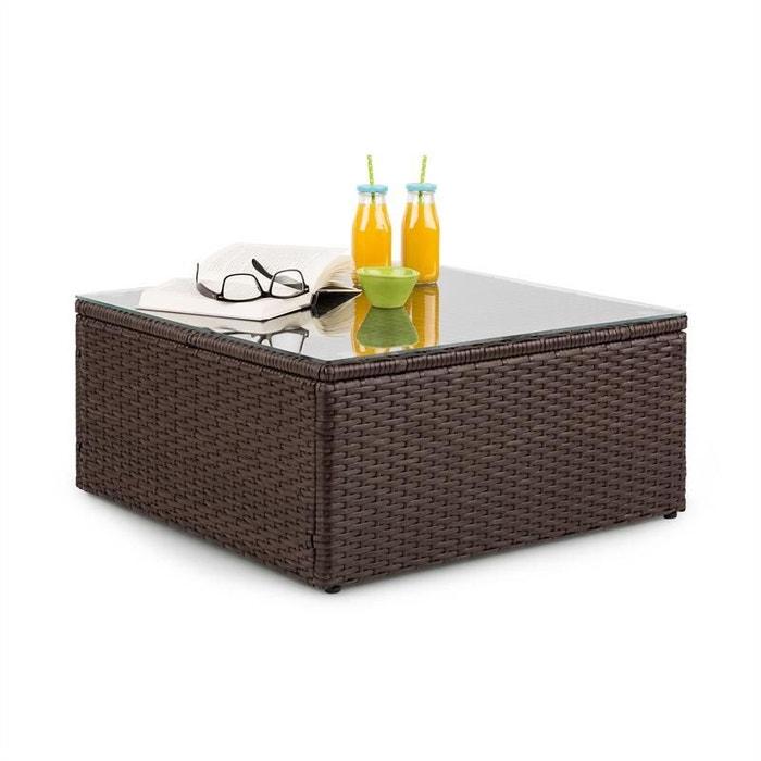 Theia table de salon de jardin en polyrotin plateau en verre ...