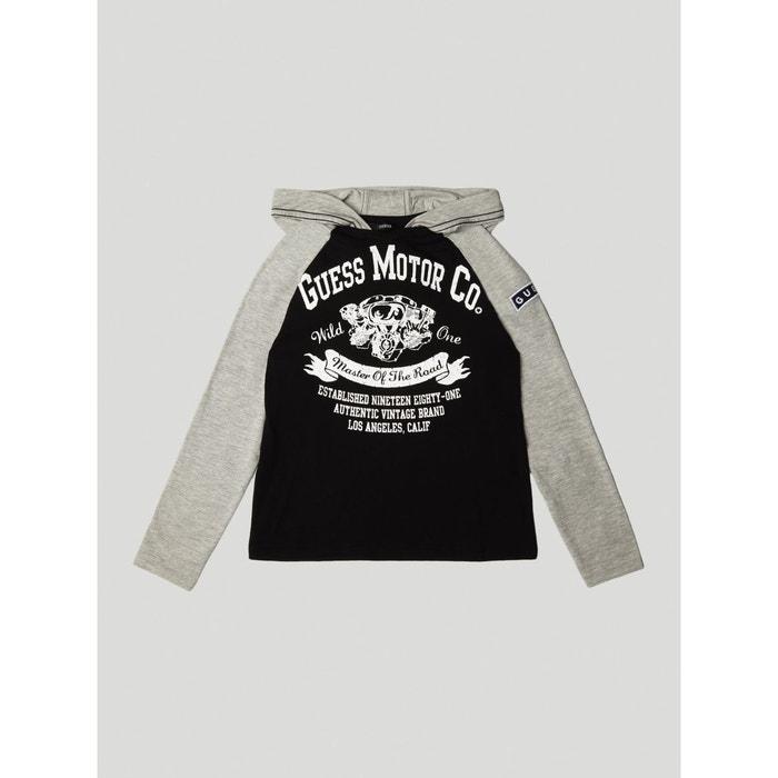 T-shirt imprime frontal capuche noir Guess Kids   La Redoute da87571c36ee