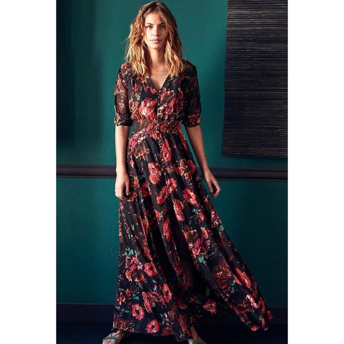Robe Longue Manches Courtes Imprime Fleuri Tropical Amenapih La