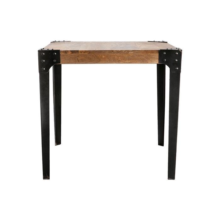 table manger industrielle acier et bois 80x80cm madison. Black Bedroom Furniture Sets. Home Design Ideas