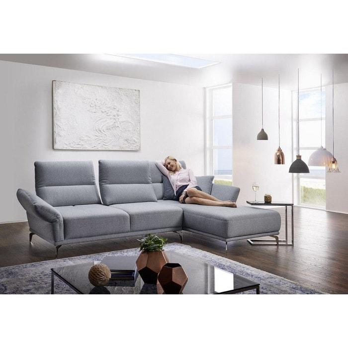 canap angle 4 places atom t en tissu gris gris clair. Black Bedroom Furniture Sets. Home Design Ideas