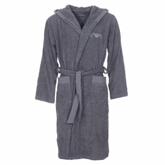 Peig de bain à capuche en coton gris Emporio Armani   La Redoute 4aa0c775aba9