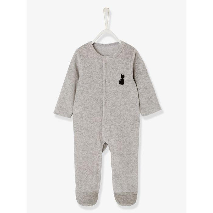 04d99b2c6571c Pyjama bébé velours bio dos fantaisie gris clair chiné Vertbaudet ...