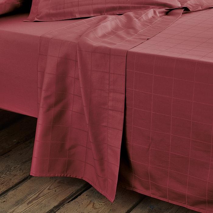 cotton satin flat sheet with large woven checks