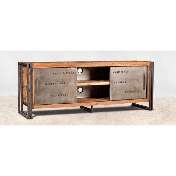 en soldes c7aef 8d711 Meuble TV 160cm bois recyclé et métal 2 portes coulissantes 2 niches style  industriel CARAVELLE