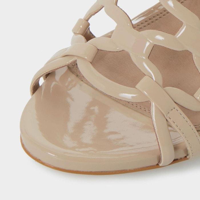 Sandales à talons hauts et boucles effet cage - meemie chair verni Dune London