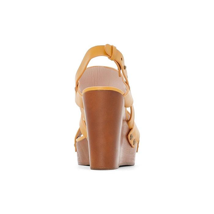 Sandales cuir compensé effet bois La Redoute Collections