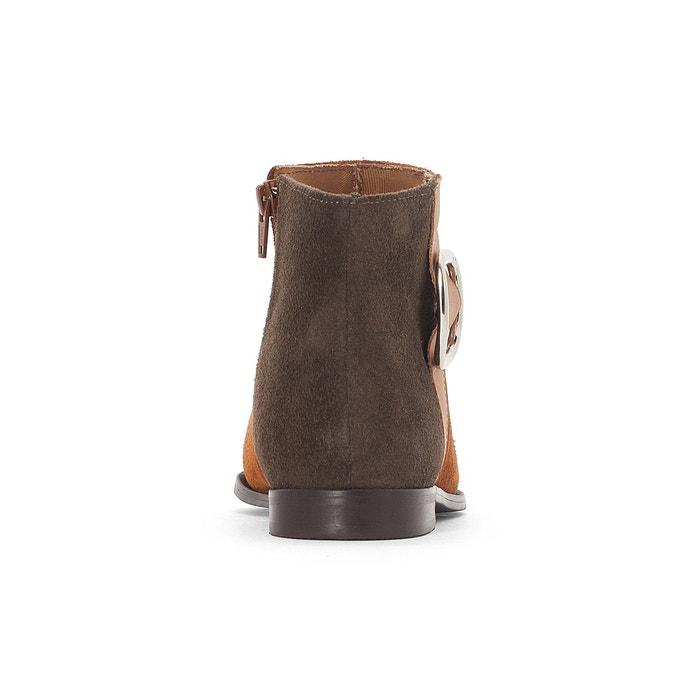 Boots cuir tricolores détail boucle, Camel