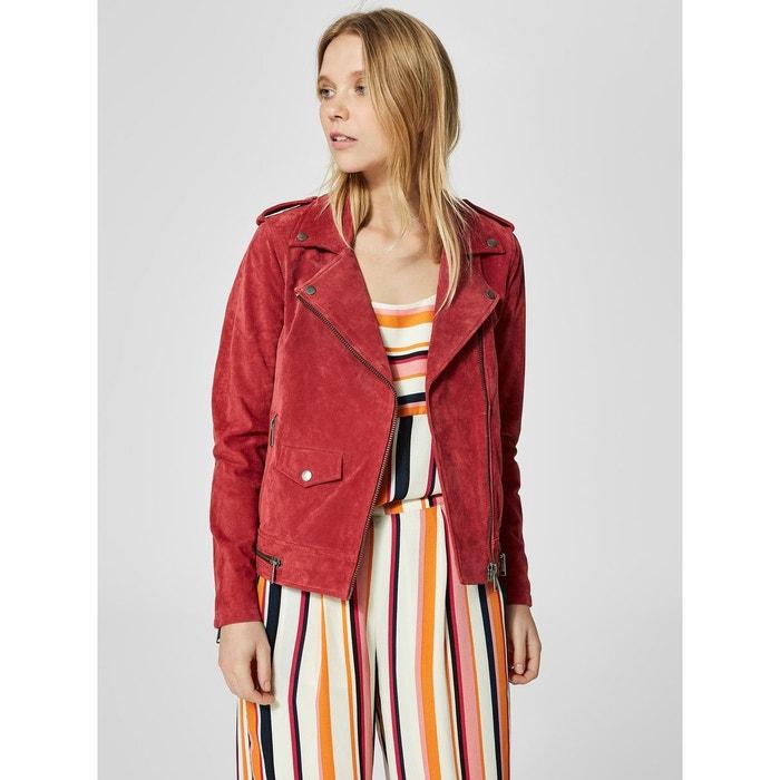 Veste en cuir daim - earth red Selected Femme   La Redoute c3ecad485419