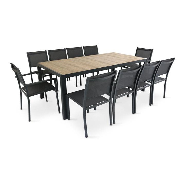 Table de jardin aluminium et céramique 10 places, tivoli gris Oviala ...