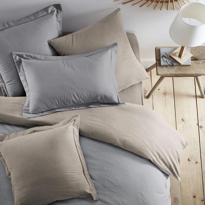 taie d 39 oreiller bicolore en flanelle gris chine beige. Black Bedroom Furniture Sets. Home Design Ideas