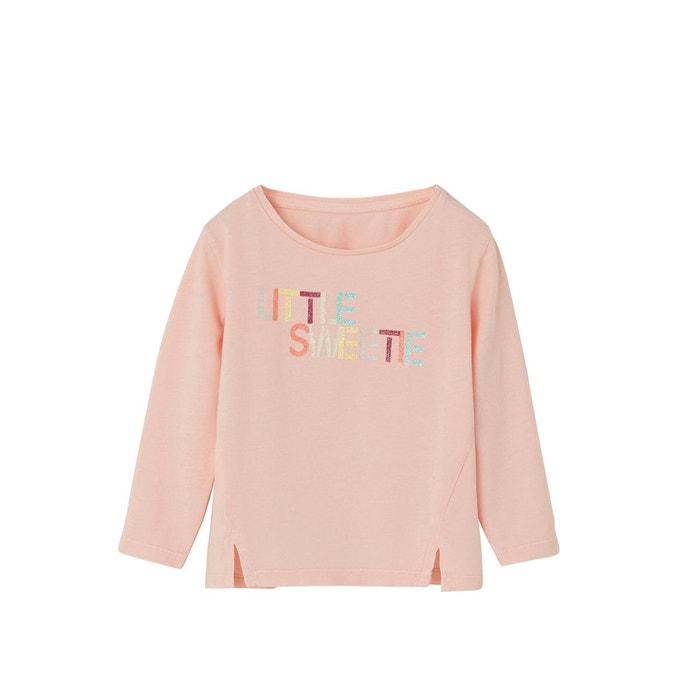 8371a68afbbd T-shirt fille inscription pop rose pale Vertbaudet