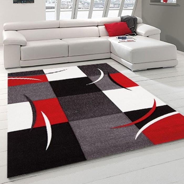 Tapis design et modern pour le salon diamond 665 rouge un Tapis de salon moderne