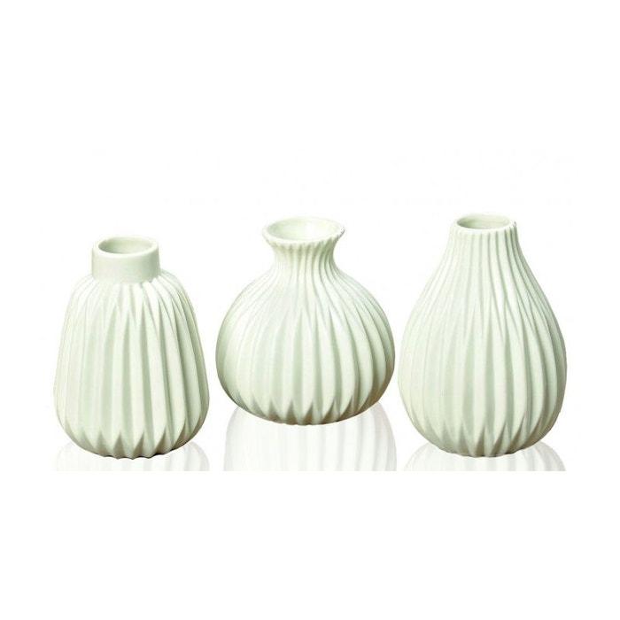Set de 3 Petits Vases Design en Porcelaine Blanche WADIGA