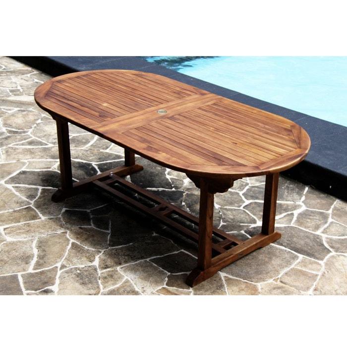 Salon de jardin en bois de teck huilé - table ovale + 12 chaises ...