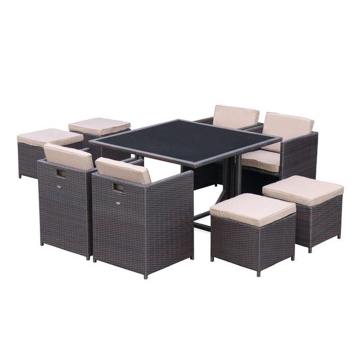 Salon de jardin Vasto table en résine tressée 4 à 8 places, fauteuils  encastrables