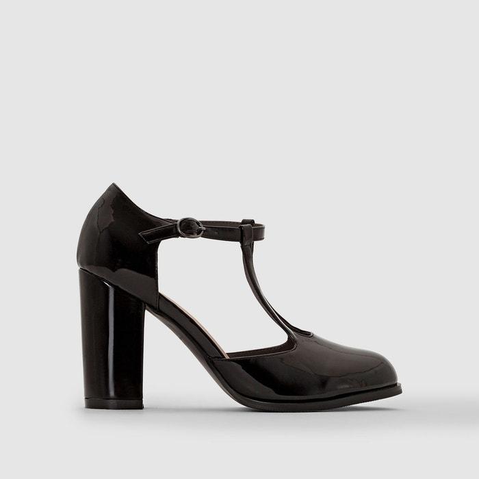 8d6fcc048f02 Escarpins en cuir vernis à bride pied large 38-45 noir Castaluna ...