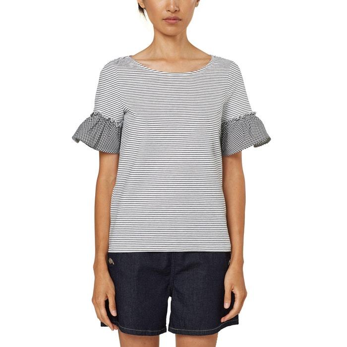 T-shirt a righe, scollo rotondo, maniche corte con volants  ESPRIT image 0
