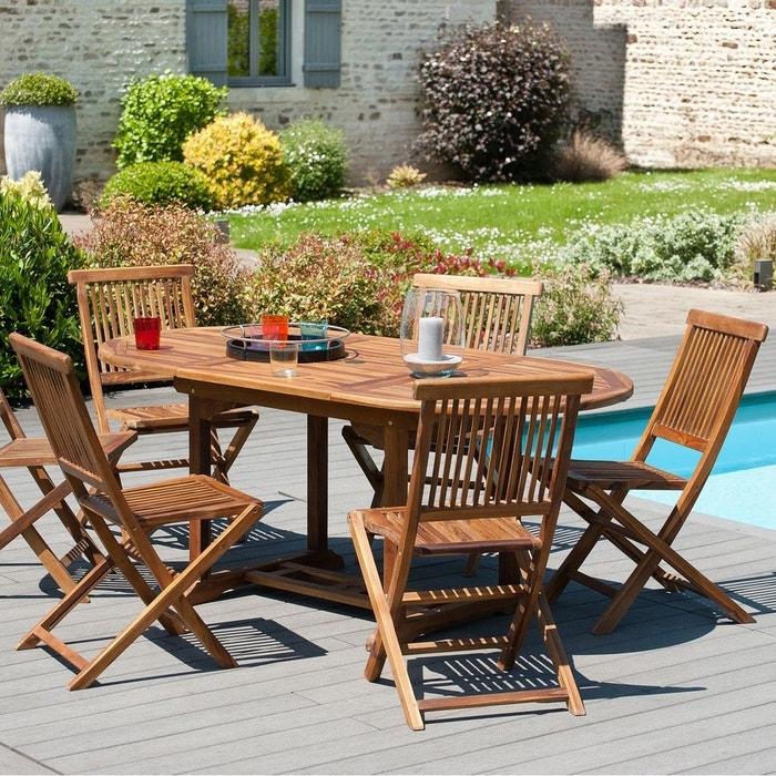 Table de jardin extensible ovale en bois de teck massif huilé 120/180x90cm  MACAO 6 personnes